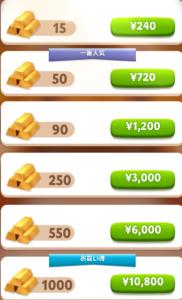 購入したいGOLD BARを選択